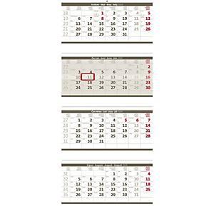 Čtyřměsíční skládaný šedý - české kalendárium, 4 x 12 listů, 31,5 x 74 cm
