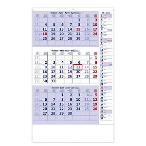 Tříměsíční modrý s poznámkami - české kalendárium, 12 listů, 31,5 x 45 cm
