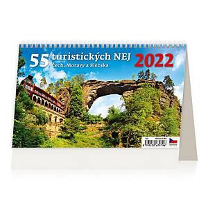 55 turistických NEJ Čech, Moravy a Slezska - české týdenní řádkové kalendárium