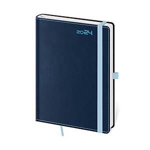 Diář denní A5 Double Blue s poutkem na pero, 14,3 x 20,5 cm, 352 stran