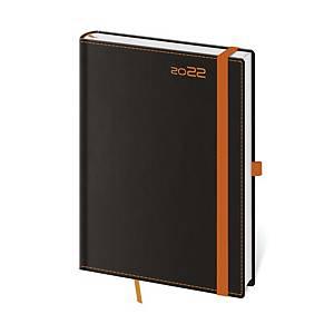 Diář týdenní A5 Black Orange s poutkem na pero, 14,3 x 20,5 cm, 128 stran