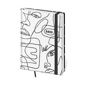 Diář denní A5 Vario Flowers s gumičkou - 14,3 x 20,5 cm, 352 stran