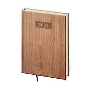 Diár týždenný A5 Wood - svetlohnedý, 14,3 x 20,5 cm, 128 strán