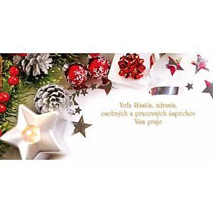 Novoročné prianie Ihličie s bielou hviezdičkou, 20 x 10 cm
