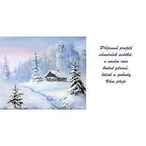 Novoroční přání Modré ozdoby s hvězdičkami, 20 x 10 cm