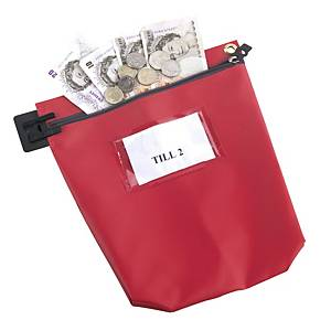 Security Cash Bag 267X267X50mm Red
