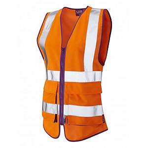 Leo WL11 Ladies High Visibility Waistcoat Orange Size