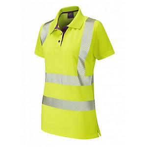 Leo PL03 Ladies High Visibility Polo Shirt Yellow Size Medium