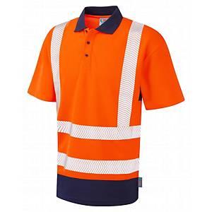 Leo P11 High-Vis Polo Shirt Orange & Navy Blue Size XL