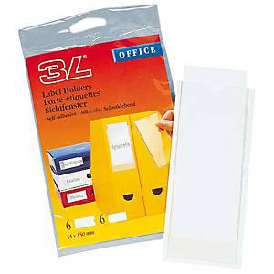 Porte-étiquettes adhésifs, 3L 10340, 55 x 150 mm, emballage de 6 pièces