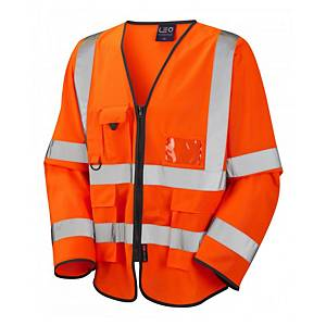 Leo S12 Waistcoat High-Vis Long Sleeve Orange Size Medium