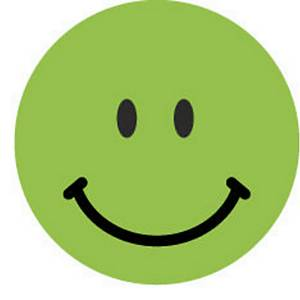 Avery waarderingsstickers op rol, positieve smiley, groen, 250 stickers