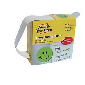 Kółka do zaznaczania  Avery Zweckform, Ø19 mm, zielone, 250 etykiet na rolce