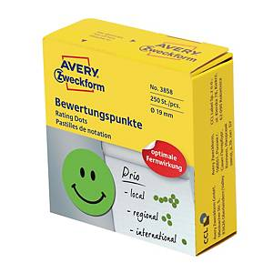 Belöningsetiketter Avery, glad smiley, Ø 19 mm, gröna