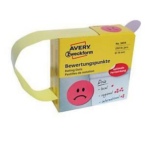 Kółka do zaznaczania Avery Zweckform, Ø19 mm, czerwone, 250 etykiet na rolce