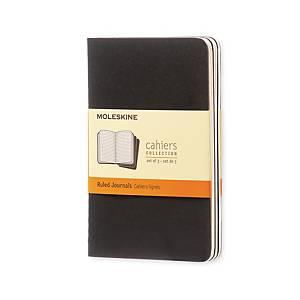 PK3 Notesbog Moleskine Cahier Pocket, linjeret, soft cover, 9 x 14 cm, sort