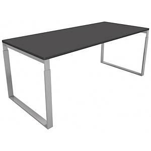 Hæve-sænke-bord Frame, 180 x 80 cm, sort/aluminium decor laminat
