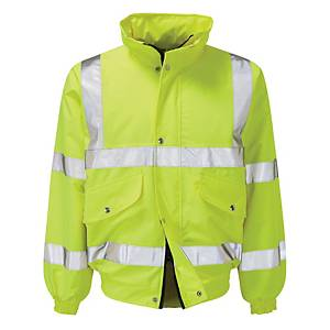 High Visibility Fleece Lined Bomber Jacket Size Large - Yellow