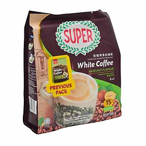 Super White Coffee Charcoal Roasted Hazelnut 3 in 1 36g - Pack of 15