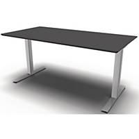 Konferencebord Square Media, 200 x 80/120 cm, sort/aluminium