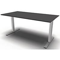 Konferencebord Square Media, 320 x 80/120 cm, sort/aluminium