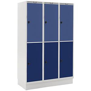 Garderobebokse Blika 3 søjler 6 rum blå