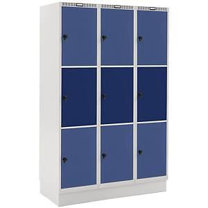 Garderobebokse Blika 3 søjler 9 rum blå