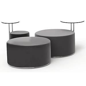 Loungepuf Fumac Call, med bord, sort kunstlæder, Ø 90 cm