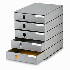 Schubladensystem Styroval Oeko, 16-8000, 5 Schubladen, mittelgrau