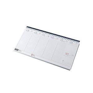 Fekvő asztali naptár 7931, fehér papír, 32 x 15,5 cm, kék tartó