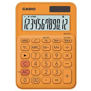 CASIO เครื่องคิดเลขชนิดตั้งโต๊ะ รุ่น MS-20UC 12 หลัก สีส้ม