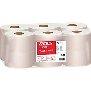 Toilettenpapier Katrin 2504, Gigantrolle, 2-lagig, 1200 Blatt, 12 Stück