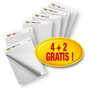 Post-it® Super Sticky Meeting Chart autocollant, blanc, 635x775 mm, 4+2 GRATUITS