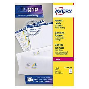 Avery L7159-100 Labels, 63.5 x 33.9 mm, 24 Labels Per Sheet