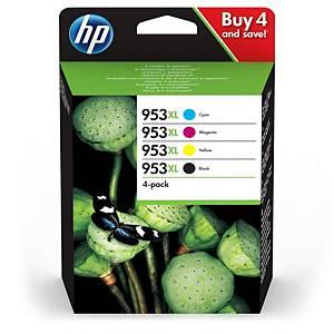 HP 953XL 4-pack High Yield Blk/Cyn/MGnta/Yllw Original Ink Cartridges (3HZ52AE)