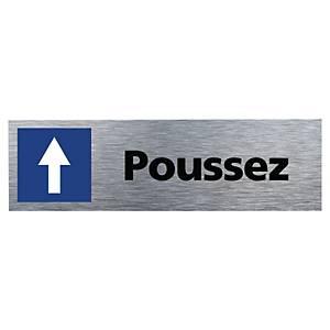 Plaque de porte - Flèche Poussez - 170 x 50 mm - alu brossé