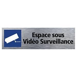 Plaque de porte - Sous Vidéo Surveillance - 170 x 50 mm - alu brossé