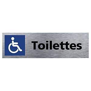 Plaque de porte - Toilettes handicapés - 170 x 50 mm - alu brossé