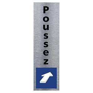 Plaque de porte - Symbole Poussez - 170 x 50 mm - alu brossé
