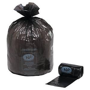Sac poubelle économique NF - 110 L - 28 microns - noir - 250 sacs