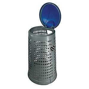 Supporto sacchi spazzatura Eco Trespolo 110 L grigio con coperchio blu
