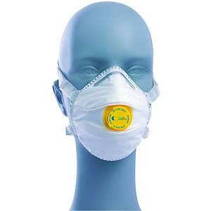 Caixa 5 máscaras descartáveis Irudek 230-SLV - FFP3 - moldadas com válvula
