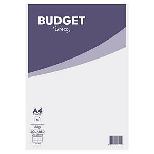 Briefblock Lyreco Budget, A4, kariert, 56g, ungelocht, 50 Blatt