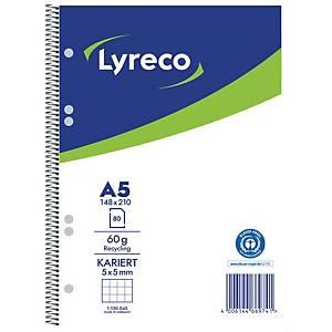 Collegeblock Lyreco, A5, kariert, 60g, 6fach gelocht, Recycling, 80 Blatt