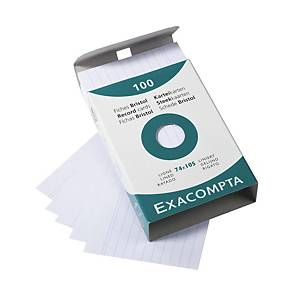 BX100 EXACOMPTA RECORD CARDS A7 LINED WH