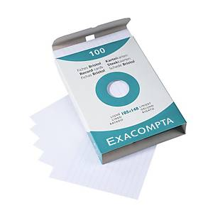 BX100 EXACOMPTA RECORD CARDS A6 LINED WH