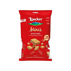 LOACKER MINIS NAPOLITANER FILLED WITH HAZELNUT CREAM CRISPY WAFERS 200G
