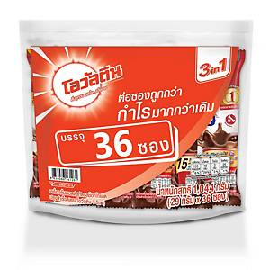 OVALTINE เครื่องดื่มมอลต์รสช็อกโกแลต สูตร 3 IN 1 แพ็ค 36 ซอง