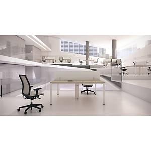 Mesa dupla Ofitres Ocean - larg. 1400 mm - carvalho/branco