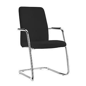 Pack de 2 sillones de conferencia con patín - negro